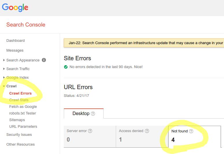 View 404 errors in Google Search Console