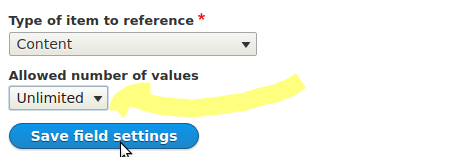 Drupal setting allowed number of values to Unlimited