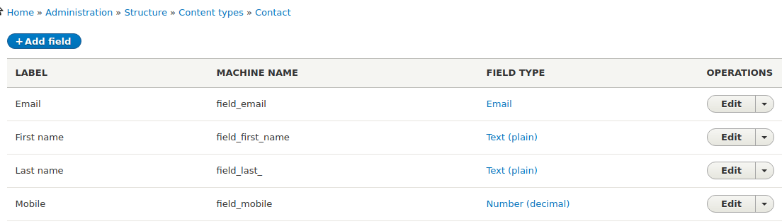 Showing fields of a Contact content type in Drupal 8