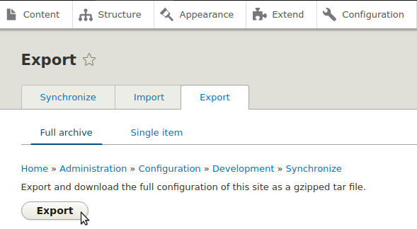 Export Drupal Config Using the UI