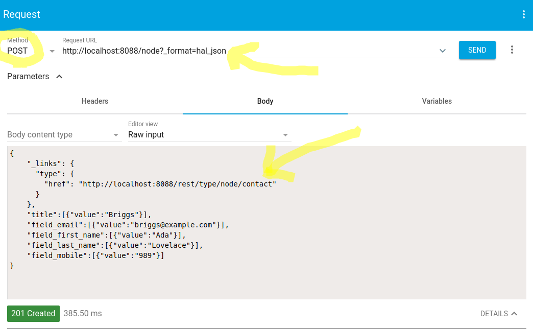 How to POST to a RESTfull endpoint in Drupal 8 with basic