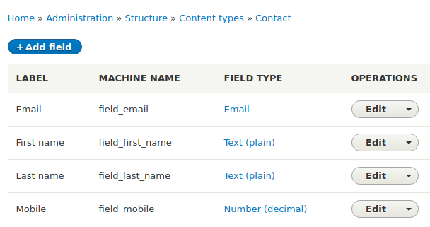 Customer Contact type in Drupal with first, last, email and mobile details