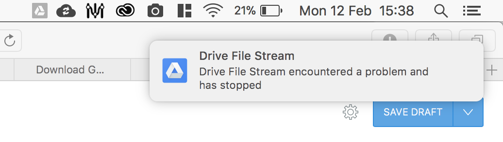 drive file stream encountered a problem and has stopped