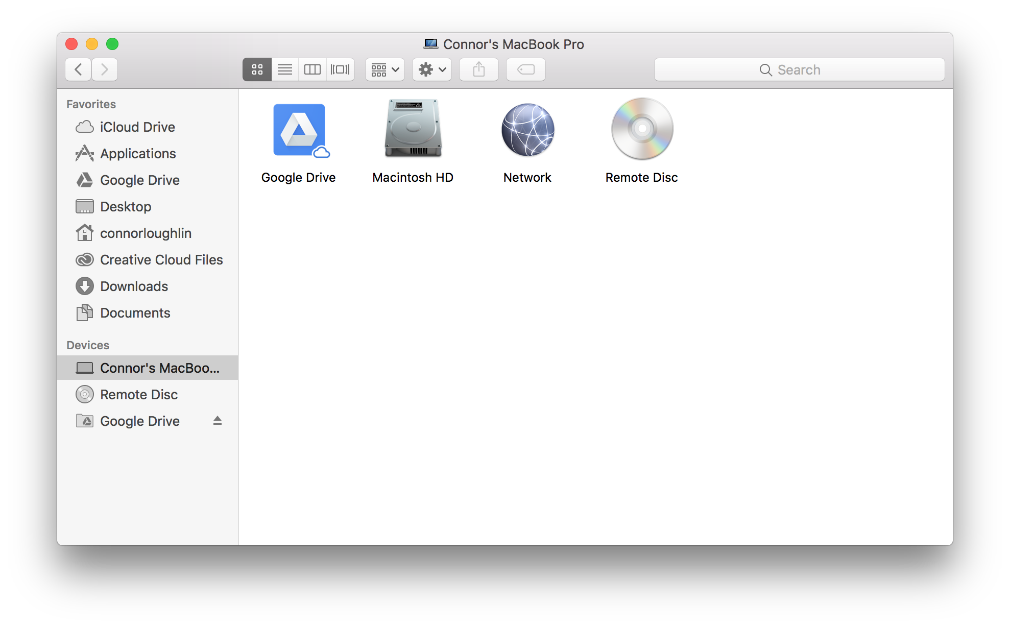 Screenshot from macOS showing Google Drive as a mounted device