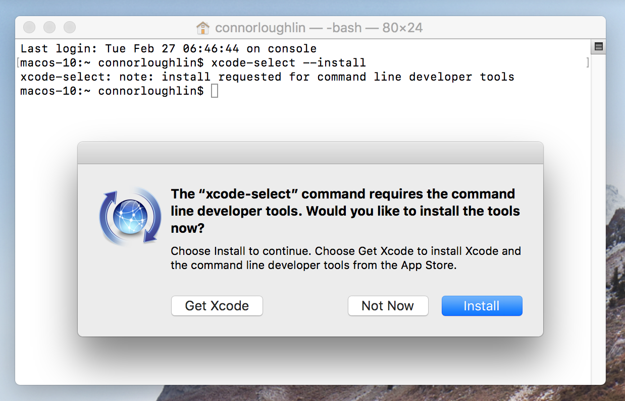 Installing XCode Tools